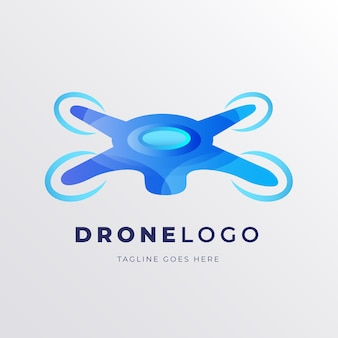 Modello di logo drone sfumatura blu