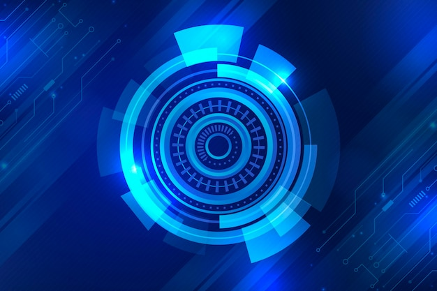 青いグラデーションの未来技術の背景