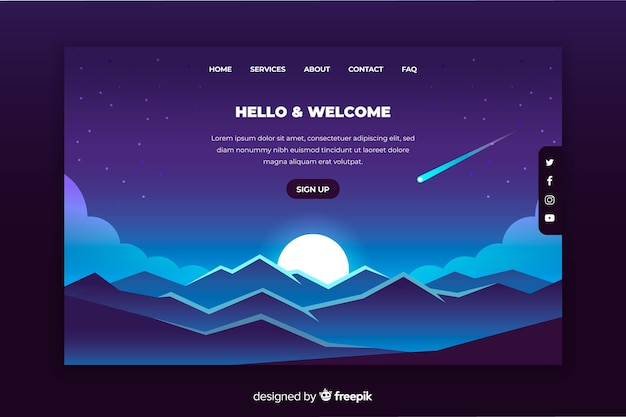 Blue gradient landscape background for landing page