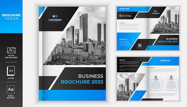 青のグラデーションのモダンなビジネス2つ折りパンフレットのデザイン Premiumベクター