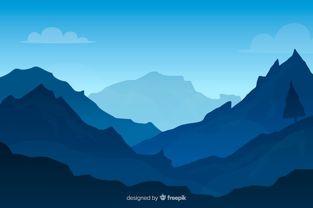 Blue gradient mountains landscape background