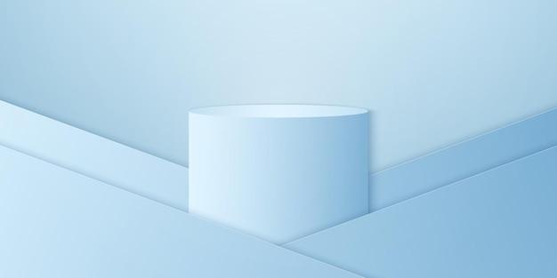 青いグラデーションの丸い表彰台または台座の最小限の製品の背景テンプレートが表示用にモックアップ