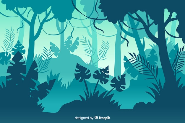 Blue gradient shades of tropical forest