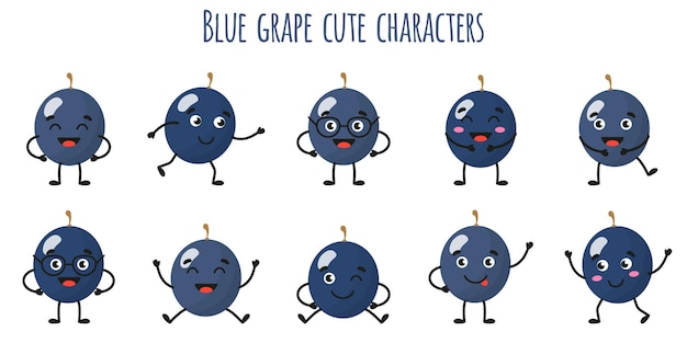 Blue grape fruit cute funny cheerful characters with different poses and emotions. natural vitamin antioxidant detox food collection.   cartoon isolated illustration.