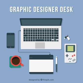 Blue graphic designer desk
