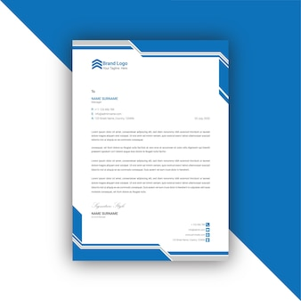 Blue and gray  abstract letterhead template