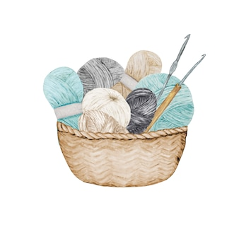 Blue gray beige crocheting knitting shop logotype, branding, avatar composition of yarns balls, crochet hooks in wicker basket . illustration for handmade crocheting icons scandinavian vintage style