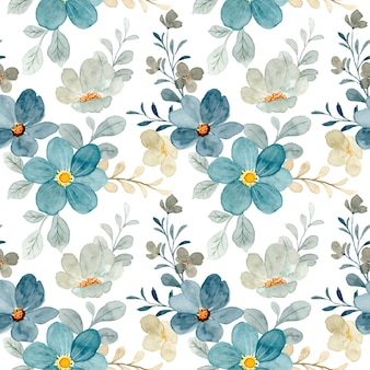 Blue gray floral watercolor seamless pattern