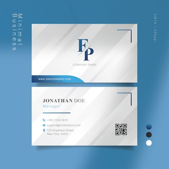 Blue gray smart business card
