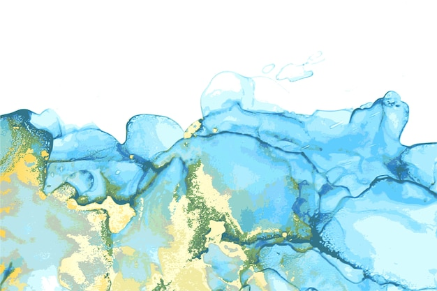 Синий, зеленый и золотой абстрактный камень мраморная текстура в технике спиртовых чернил с блеском.