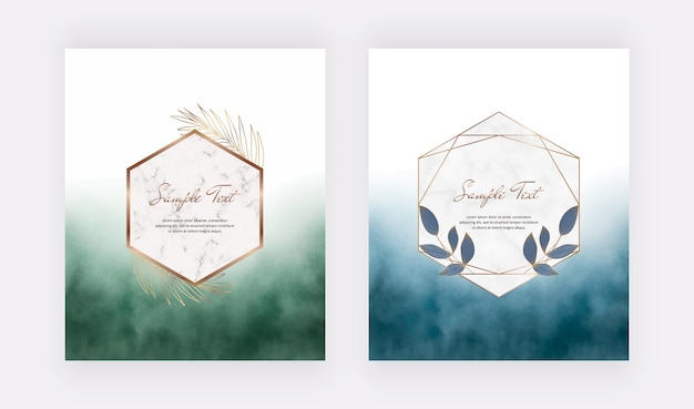 Blue and green brush stroke watercolor cards with geometric marble frames with leaves.