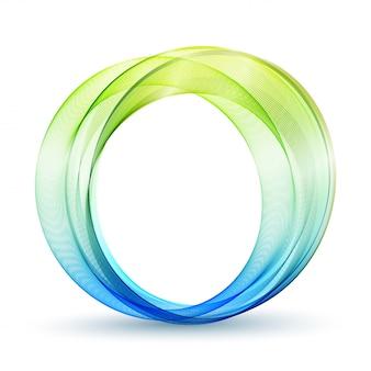 青、緑のサークルフレーム。透明な波の抽象的な流れ。円の形。