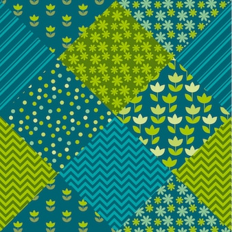 Blue and green color tulip flower and geometry motif patchwork. simple assorted patch  illustration design.