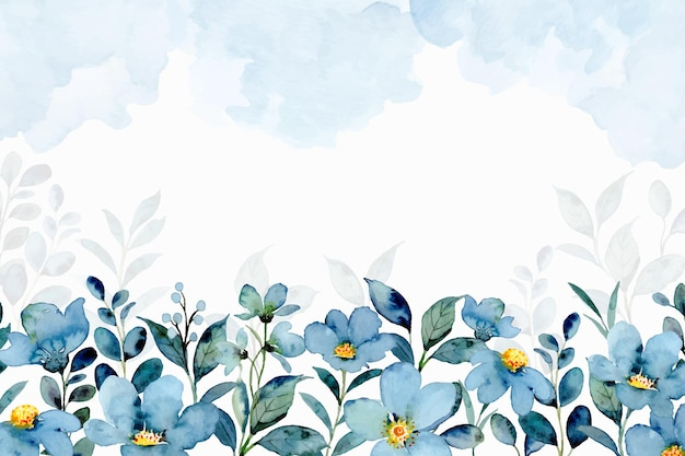 Blue green floral background with watercolor