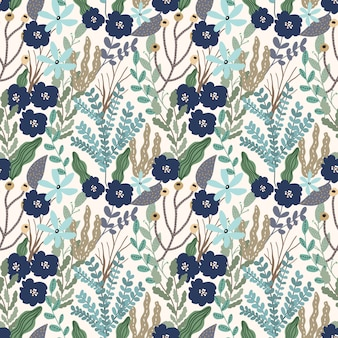 Blue green floral leaves garden seamless pattern