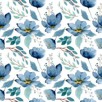 Blue green floral watercolor seamless pattern
