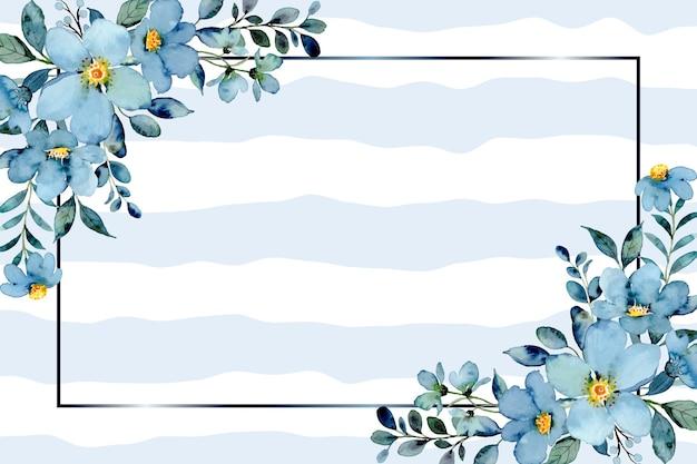 波の背景に水彩と青緑の花