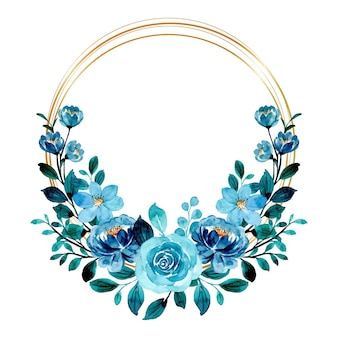 Blue green floral wreath watercolor with golden frame