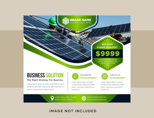 Blue and green flyer business design, advertising background, horizontal modern layout template. hexagon space for photo