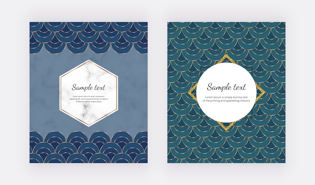 Blue and green geometric mermaid design with golden lines and polygonal frames, scale fish shapes.
