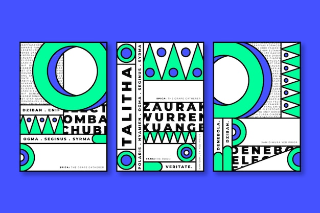 Blue and green geometric shapes for covers