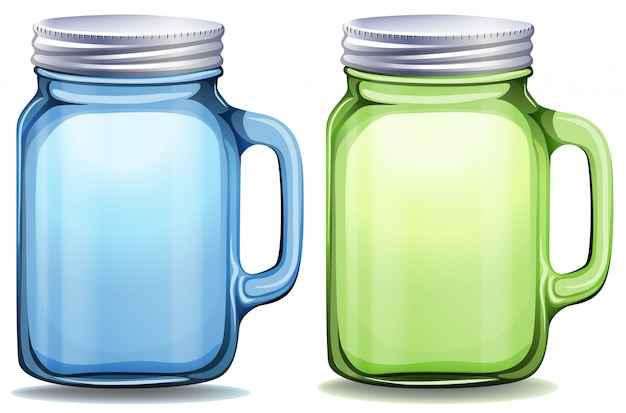Blue and green jars with aluminum lids