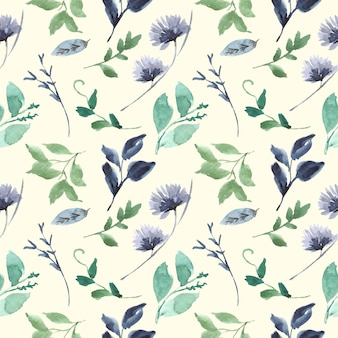 Blue and green leaf floral watercolor seamless pattern