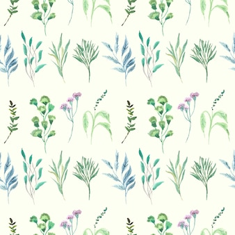 Blue and green leaf watercolor samples pattern