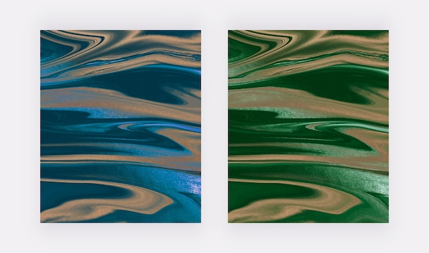 Blue and green liquid ink with foil painting abstract backgrounds.