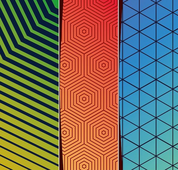 ブルーグリーンオレンジグラデーションとパターンの背景フレームセット、カバーデザイン。