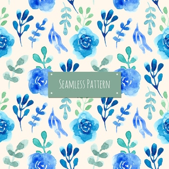 Blue and green pattern with watercolor flower