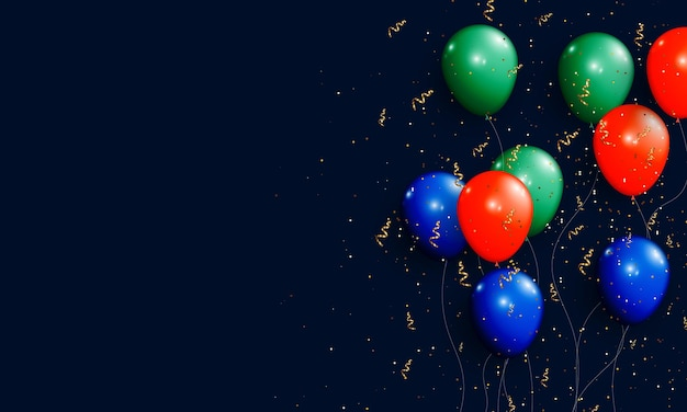 Blue green and red balloon with golden confetti and glitter. vector illustration.