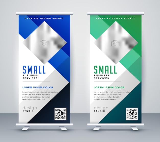Design geometrico per banner roll up blu e verde