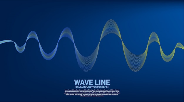 Blue and green sound wave line curve on blue background.