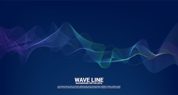Blue and green sound wave line curve on dark