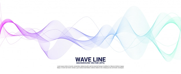 Blue and green sound wave line curve on white background.