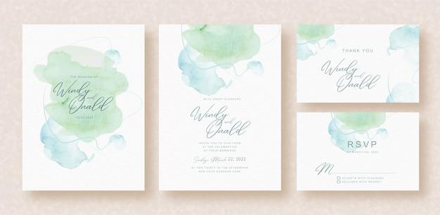結婚式の招待状に青緑色のスプラッシュ水彩画