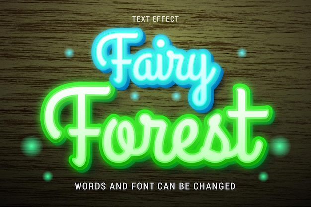 Blue and green text effect of fairy forest theme isolated on brown wood background editable eps cc