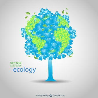 Blue and green tree in an ecology card