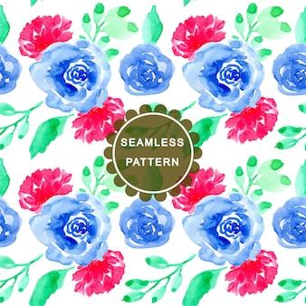 블루 그린 수채화 꽃 seaamless 패턴
