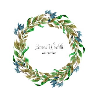 Blue and green watercolor leaves wreath