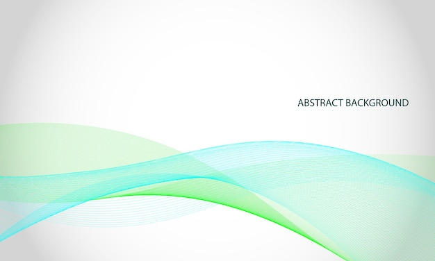 Blue and green wave lines background vector illustration