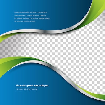Blue and green wavy shapes background