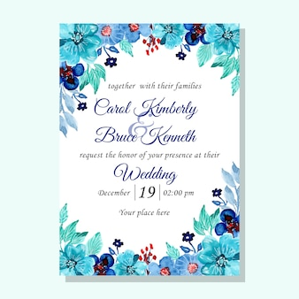 Blue green wedding invitation card with watercolor flower