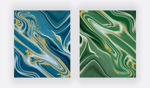 Blue and green with golden glitter liquid ink painting abstracts.