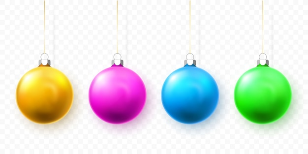 青、緑、黄色、ピンクのクリスマスボール。クリスマスガラスボール休日の装飾テンプレート。