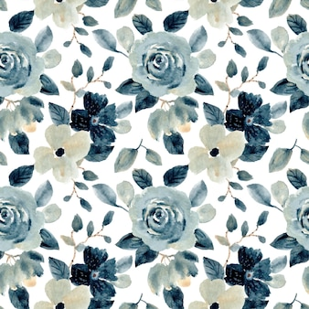 Blue grey floral watercolor seamless pattern