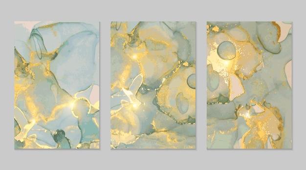 ブルーグレーゴールド大理石の抽象的なテクスチャ
