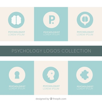 Blue and grey psychology logos