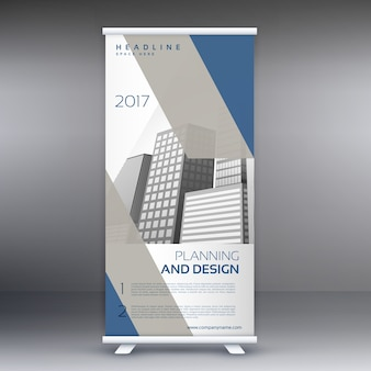 Blue and grey roll up banner design